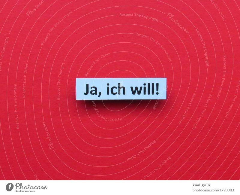 Ja, ich will! Schriftzeichen Schilder & Markierungen Kommunizieren Glück rot schwarz weiß Gefühle Stimmung Freude Lebensfreude Vorfreude Begeisterung Mut