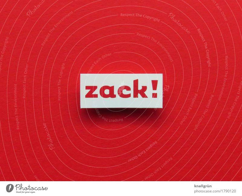 zack! Schriftzeichen Schilder & Markierungen Kommunizieren eckig rot weiß Gefühle Stimmung Neugier Überraschung Entschlossenheit Zickzack Farbfoto