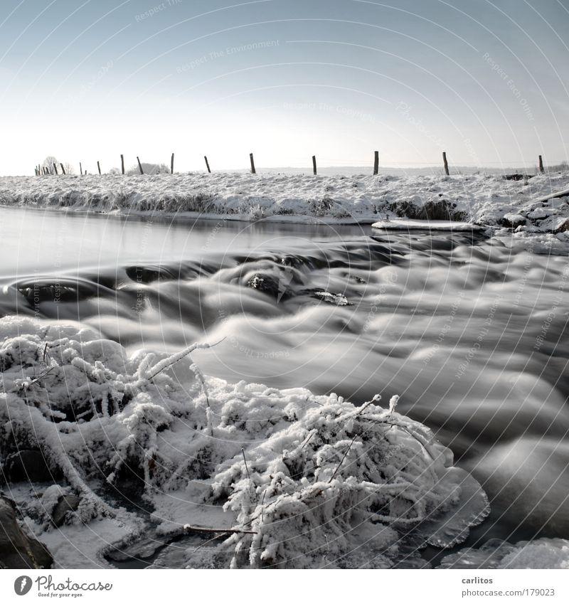[drück] Mag ich nicht [/drück] Gedeckte Farben Langzeitbelichtung Bewegungsunschärfe Weitwinkel Winter Wasser Eis Frost Flussufer Erholung frieren ästhetisch
