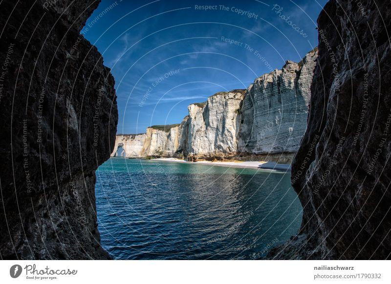 Strand bei Etretat, Normandie Frankreich Himmel Natur Ferien & Urlaub & Reisen blau Sommer schön Wasser Meer Landschaft Umwelt natürlich Küste grau Stimmung