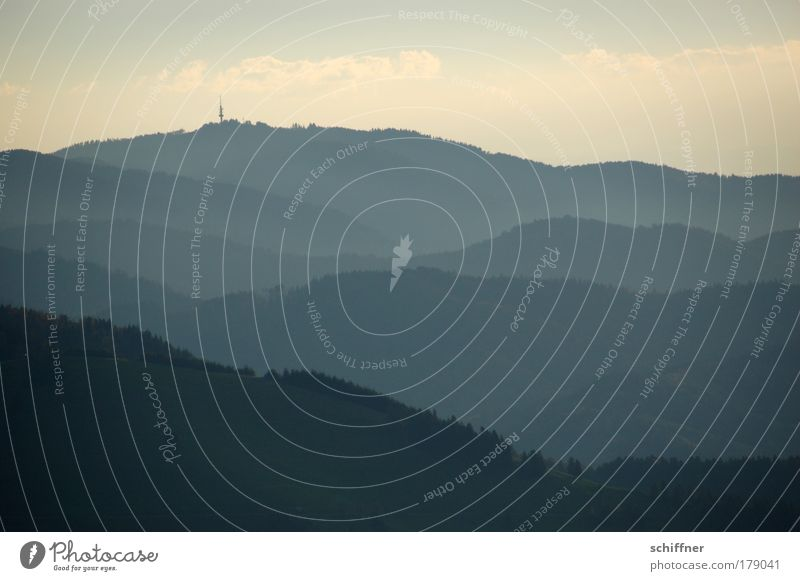 Ins Land schauen Natur ruhig Ferne Wald Berge u. Gebirge Landschaft Nebel Erde Aussicht Frieden Hügel Gipfel genießen Schwarzwald Sonnenaufgang Schauinsland