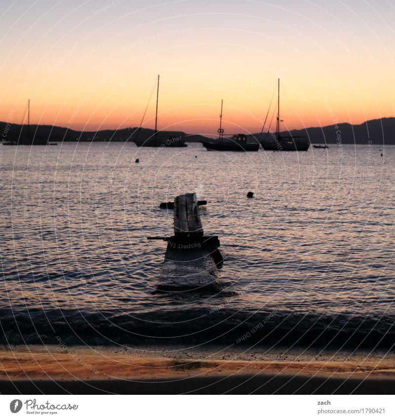 ablegen Segeln Wasser Wolkenloser Himmel Nachthimmel Sonnenaufgang Sonnenuntergang Sommer Schönes Wetter Hügel Wellen Küste Strand Meer Mittelmeer Ägäis Insel
