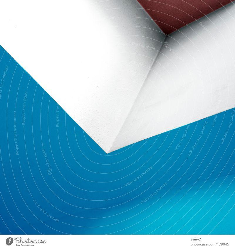 Neunzig Grad. blau Ferne Farbe Wand oben Stein Mauer Linie Raum Design elegant Beton Fassade Ordnung ästhetisch neu