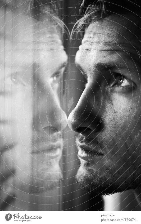 erahcsiP oppiPippo Pischare Mann schön Gesicht Fenster Traurigkeit Denken warten Blick Porträt Sehnsucht Reflexion & Spiegelung Fernweh Rollo