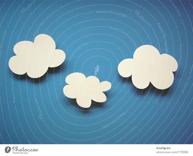 Schäfchenwolken Himmel weiß blau Wolken 3 Fröhlichkeit Ziffern & Zahlen Schönes Wetter Leichtigkeit Blauer Himmel Kumulus Symbole & Metaphern
