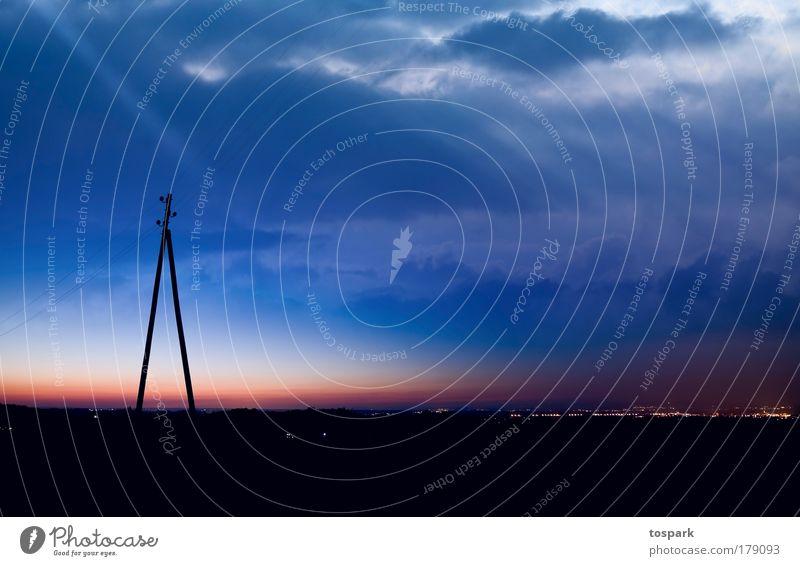 Abendstimmung Ferne Umwelt Natur Landschaft Urelemente Himmel Wolken Gewitterwolken Nachthimmel Horizont Sonnenaufgang Sonnenuntergang Sommer Wetter Seeufer