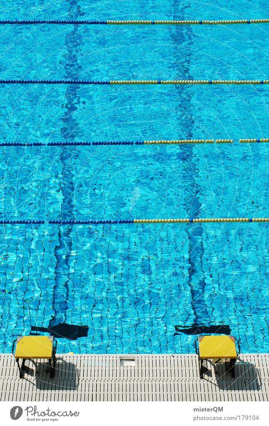 Hürdenschwimmen. blau Wasser Sommer gelb Sport 2 Freizeit & Hobby Geschwindigkeit Aktion Schwimmbad Schwimmsport Leichtathletik Barriere Erfrischung Sportveranstaltung Karriere