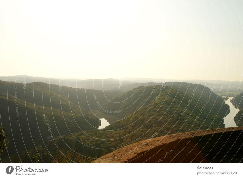 Ausblick Farbfoto Außenaufnahme Menschenleer Textfreiraum oben Morgen Morgendämmerung Licht Schatten Kontrast Silhouette Sonnenlicht Sonnenaufgang