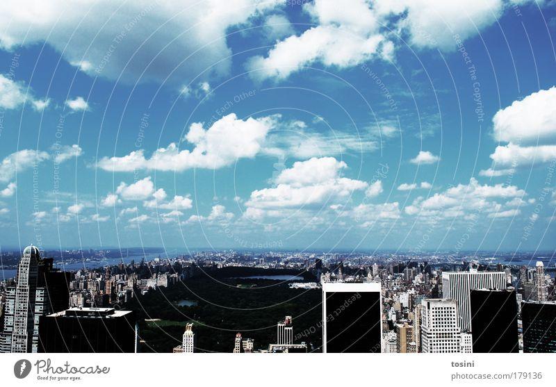 Central Park Himmel Stadt Sommer Ferien & Urlaub & Reisen Wolken Architektur Gebäude Horizont Hochhaus Manhattan einzigartig Dach USA Bankgebäude Haus Skyline