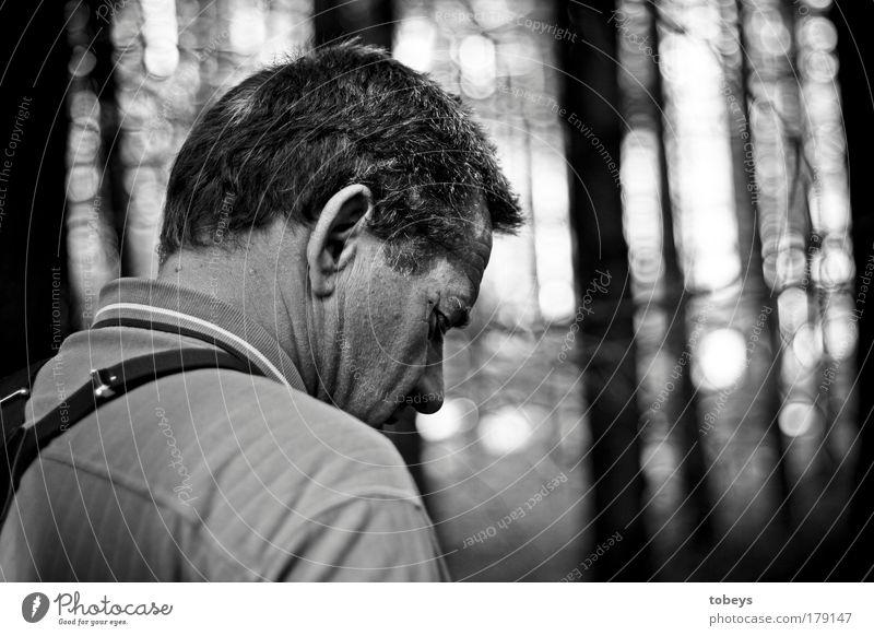 erschöpft Mensch Natur Mann Baum Einsamkeit Wald Erwachsene dunkel Gefühle Traurigkeit Denken authentisch Trauer Müdigkeit Stress Urwald