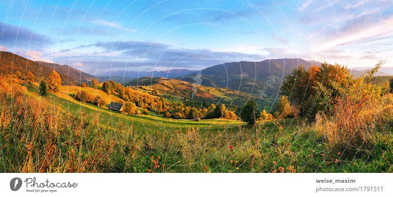 Ländliche Szene Septembers in den Bergen schön Ferien & Urlaub & Reisen Tourismus Ausflug Freiheit Sommer Berge u. Gebirge Umwelt Natur Landschaft Himmel Wolken