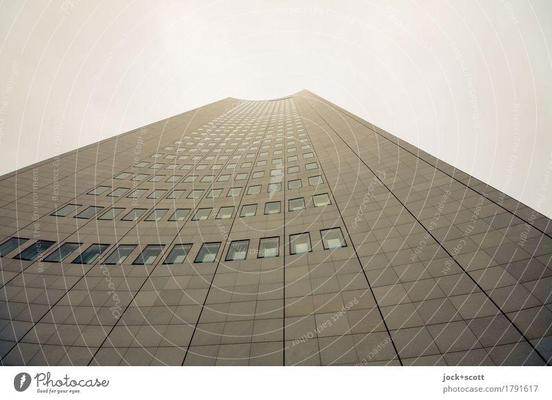 Stockhaus Stadt Fenster kalt Architektur Stil Gebäude außergewöhnlich Linie Fassade Wachstum modern Hochhaus Perspektive hoch Zukunft groß