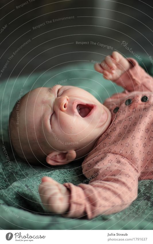 Guten Morgen feminin Baby 1 Mensch 0-12 Monate liegen Müdigkeit Bewegung Kindheit gähnen strecken rosa grün Decke Farbfoto Innenaufnahme Tag Zentralperspektive
