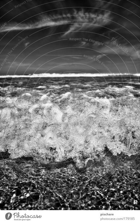 schaumbad supersize Natur Wasser Himmel Meer Sommer Strand Ferien & Urlaub & Reisen Wolken Ferne Wellen Unendlichkeit außergewöhnlich Urelemente Schönes Wetter