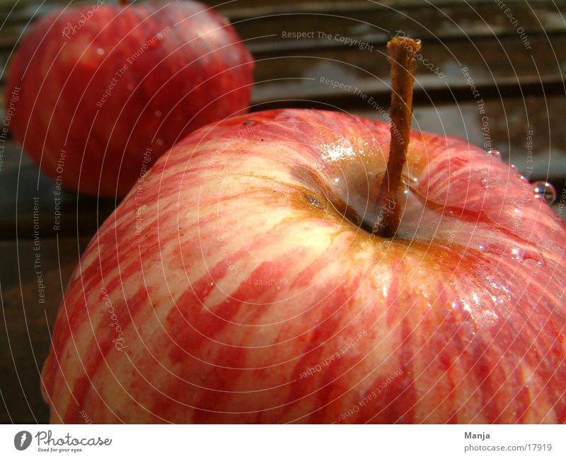 2 Äpfel rot saftig Gesundheit nass Apfel Frucht