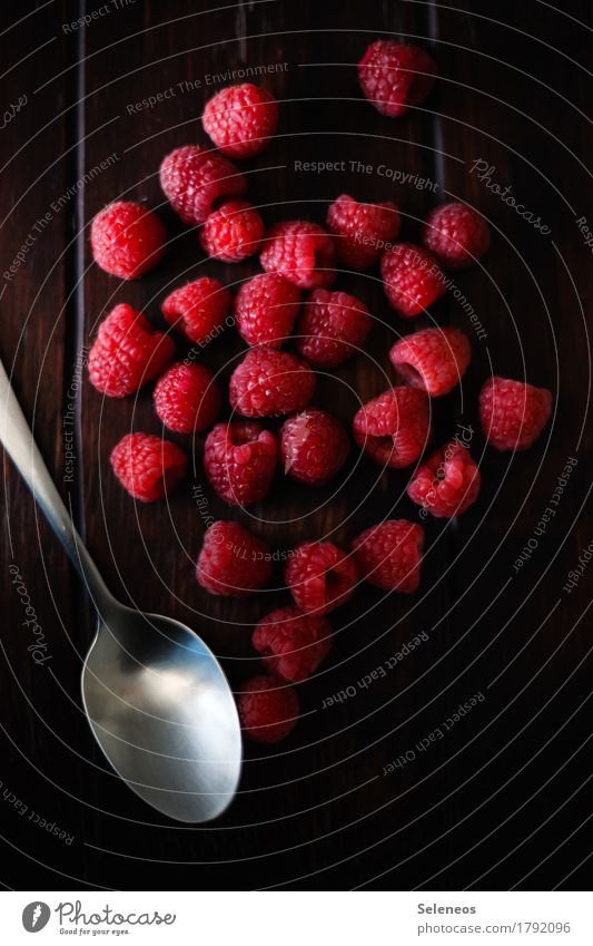 frische Himbeeren Lebensmittel Frucht Dessert Ernährung Bioprodukte Vegetarische Ernährung Diät Gesundheit Fitness Nutzpflanze Löffel lecker Farbfoto