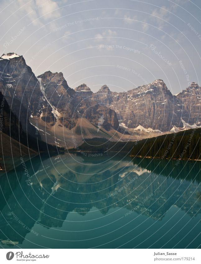 Morain Lake Natur Wasser schön Himmel grün blau Pflanze Sommer Wolken Wald Schnee Erholung Berge u. Gebirge Frühling See Landschaft