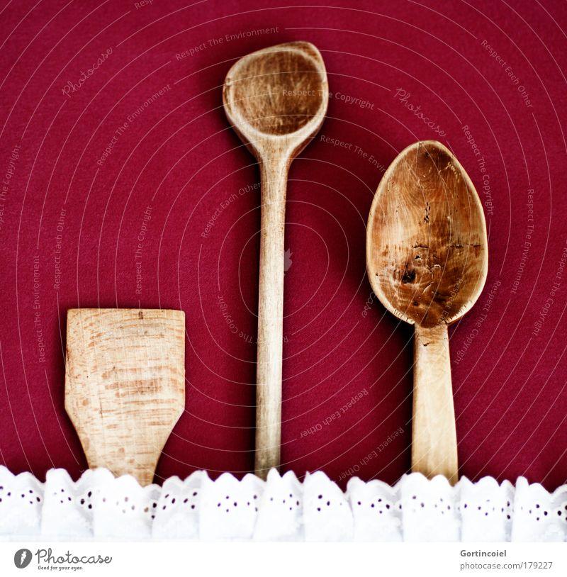Werkzeug alt weiß rot Holz braun Ordnung Kochen & Garen & Backen retro Besteck Kitsch Schatten Symbole & Metaphern Löffel Stoff Reihenfolge