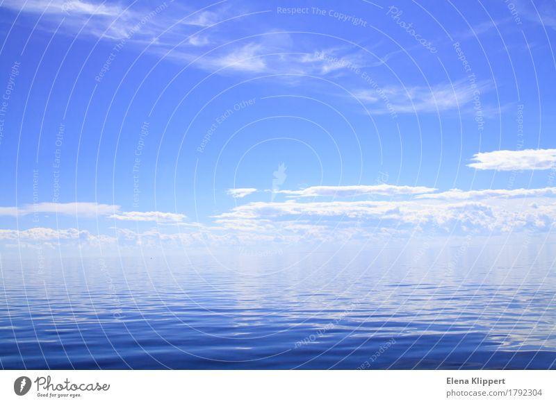 Das weiße Meer. Umwelt Natur Landschaft Wasser Himmel Wolken Horizont Sommer Wetter Schönes Wetter Wellen Schifffahrt Kreuzfahrt Stimmung Fernweh Zufriedenheit