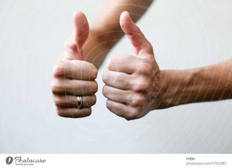 tip top Lifestyle Freizeit & Hobby Karriere Erfolg Frau Erwachsene Leben Hand Daumen Frauenhand 1 Mensch Ring Ehering positiv Gefühle Stimmung Zufriedenheit