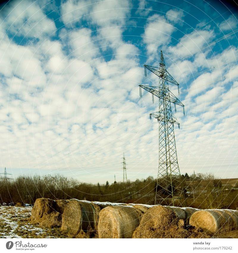 Liebster Ort II Natur Himmel Wolken kalt Schnee Landschaft Feld Umwelt Energie Energiewirtschaft Elektrizität Landwirtschaft Urelemente Schönes Wetter Strommast