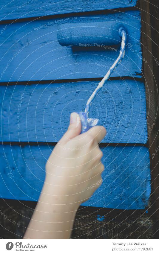 Einen Schuppen im Garten malen blau schön Erholung dunkel Lifestyle Schutz Tropfen Handwerk Gartenarbeit Renovieren hart Reparatur Recycling selbstgemacht