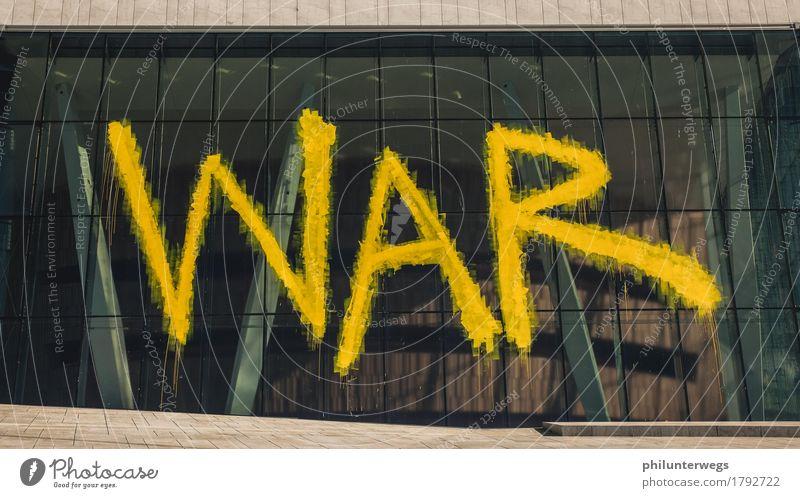 WAR Stadt Architektur Wand Graffiti Mauer Kunst Fassade Angst Kraft ästhetisch Beginn gefährlich Bauwerk Sehenswürdigkeit Wahrzeichen Stadtzentrum
