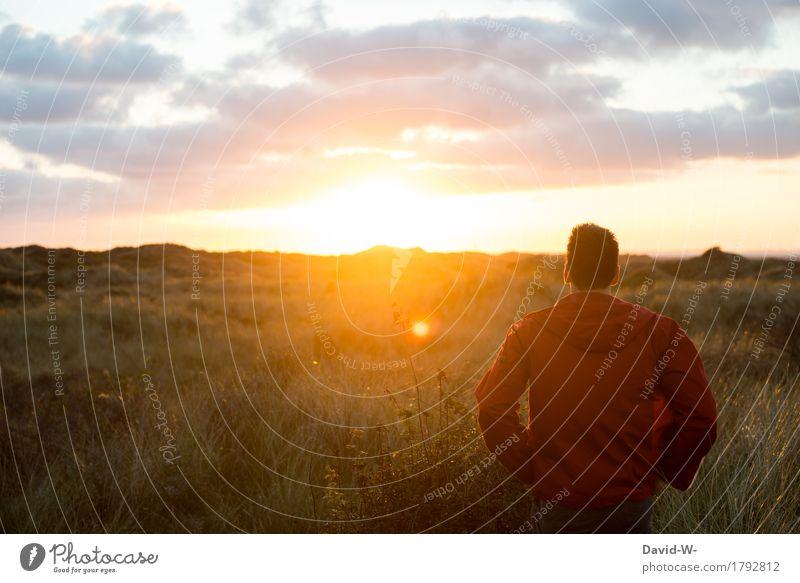 Freiheit Mensch maskulin Junger Mann Jugendliche Erwachsene Leben 1 Kunst Umwelt Natur Landschaft Sonne Sonnenaufgang Sonnenuntergang Sonnenlicht Frühling