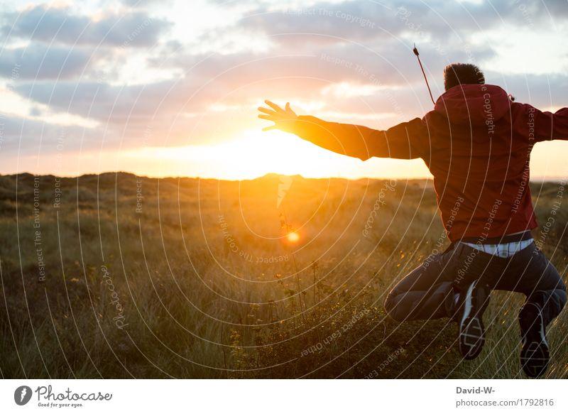 gut gelaunt in den Tag Mensch Natur Ferien & Urlaub & Reisen Jugendliche Mann Sommer Sonne Junger Mann ruhig Ferne Erwachsene Umwelt Leben Herbst Glück Freiheit