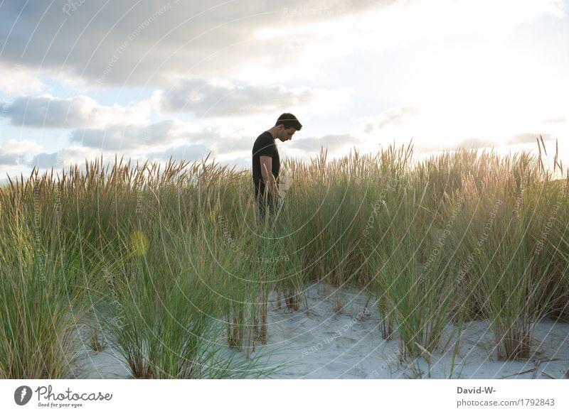 einfach mal ein bisschen abstand Mensch Ferien & Urlaub & Reisen Jugendliche Mann Junger Mann Erholung ruhig Ferne Strand Erwachsene Leben Gesundheit Freiheit