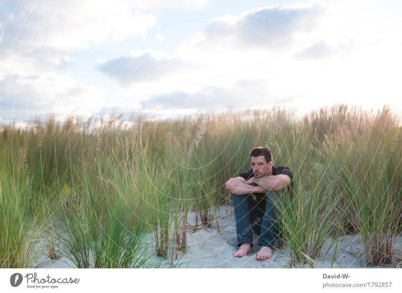windig Mensch Ferien & Urlaub & Reisen Jugendliche Mann Sommer Junger Mann Meer Erholung ruhig Ferne Strand Erwachsene Umwelt Leben Lifestyle Gesundheit