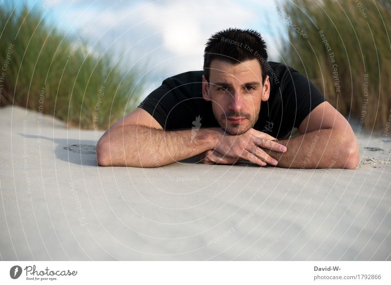 Bodenansicht Mensch Natur Ferien & Urlaub & Reisen Jugendliche Mann Sommer Junger Mann Erholung Strand schwarz Gesicht Erwachsene Umwelt Auge Leben Freiheit
