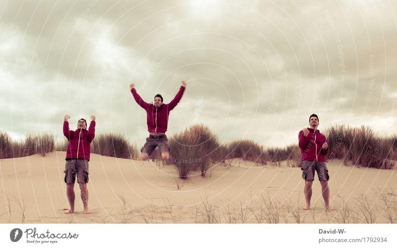 YEAH URLAUB Mensch Natur Ferien & Urlaub & Reisen Jugendliche Mann Junger Mann Wolken Freude Strand Erwachsene Leben Gefühle Herbst Glück Kunst Menschengruppe