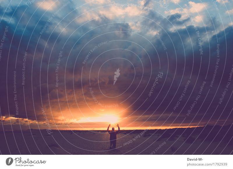 1000 - Dank Mensch maskulin Junger Mann Jugendliche Erwachsene Leben Kunst Kunstwerk Umwelt Natur Wolken Gewitterwolken Sonne Sonnenfinsternis Sonnenaufgang