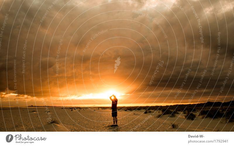 Die Sonne gehört mir Mensch maskulin Junger Mann Jugendliche Erwachsene Leben 1 Kunst Künstler Natur Himmel Wolken Sonnenaufgang Sonnenuntergang Sonnenlicht