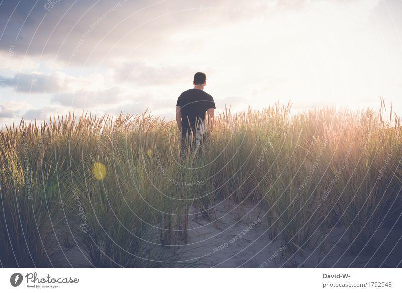 Natur Mensch Ferien & Urlaub & Reisen Jugendliche Mann schön Sonne Junger Mann Erholung ruhig Strand Erwachsene Umwelt Leben Glück Freiheit
