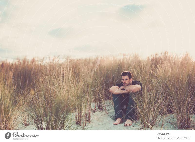 Langzeitbelichtung in den Dünen Mensch Natur Ferien & Urlaub & Reisen Jugendliche Mann schön Junger Mann Landschaft ruhig Strand Erwachsene Umwelt Leben Sand