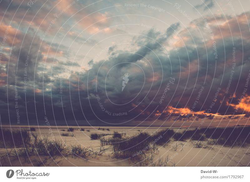 Wetterphänomen am Strand Kunst Kunstwerk Gemälde Umwelt Natur Wasser Wolken Gewitterwolken Sonne Sonnenaufgang Sonnenuntergang Sonnenlicht Sommer Herbst