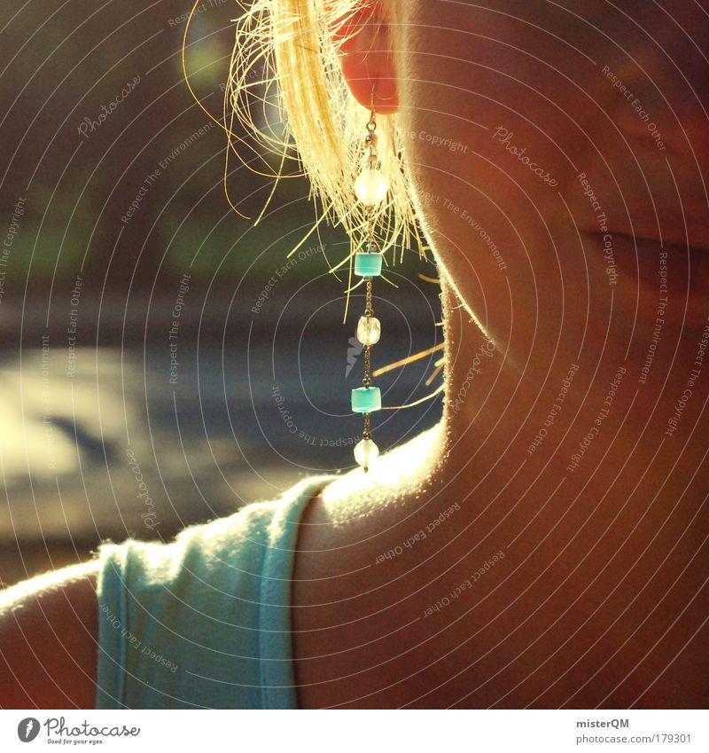 Sweet Blue. Frau blau Sommer Ferien & Urlaub & Reisen Leben Haare & Frisuren Mund Wärme Mode Haut Wind Ohr nah weich Warmherzigkeit