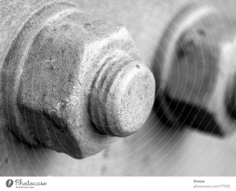 mutter Schraube Makroaufnahme Nahaufnahme Schwarzweißfoto