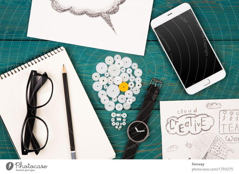 Geschäftsideenkonzept - Birnenzeichen, Telefon blau Business Arbeit & Erwerbstätigkeit Textfreiraum Büro Wachstum Kreativität Aussicht Technik & Technologie
