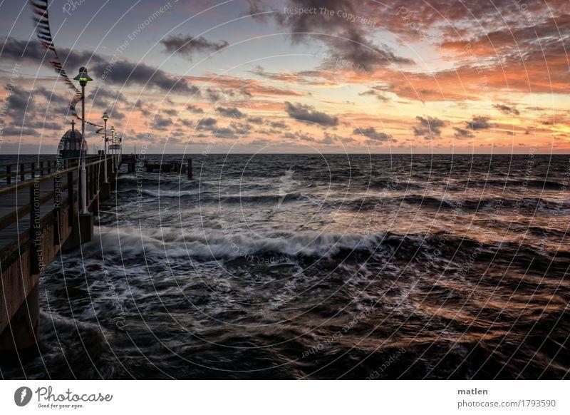 bewegtes Wasser Landschaft Himmel Wolken Horizont Sonnenaufgang Sonnenuntergang Herbst Wetter Schönes Wetter Sturm Wellen Küste Ostsee blau braun gold orange