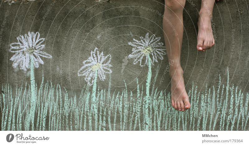 Ich will den Sommer zurück! Kreide Wand Beton Ferien & Urlaub & Reisen Balkon Wiese Blume Fuß baumeln Freizeit & Hobby Freiheit Kind Kindheit Erholung Blühend