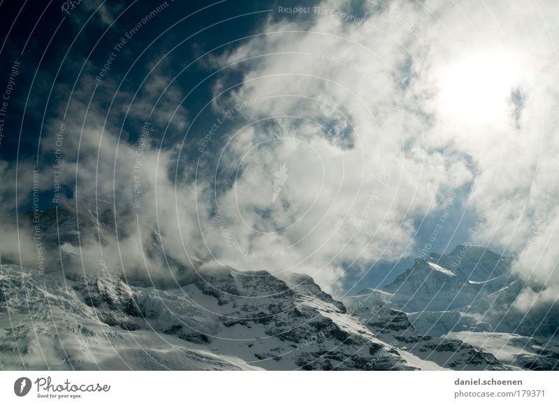 und ewig lockt der Berg ! Himmel blau weiß Sonne Wolken Landschaft kalt Schnee Berge u. Gebirge Eis Frost Klettern Alpen Schweiz Bergsteigen Schneebedeckte Gipfel