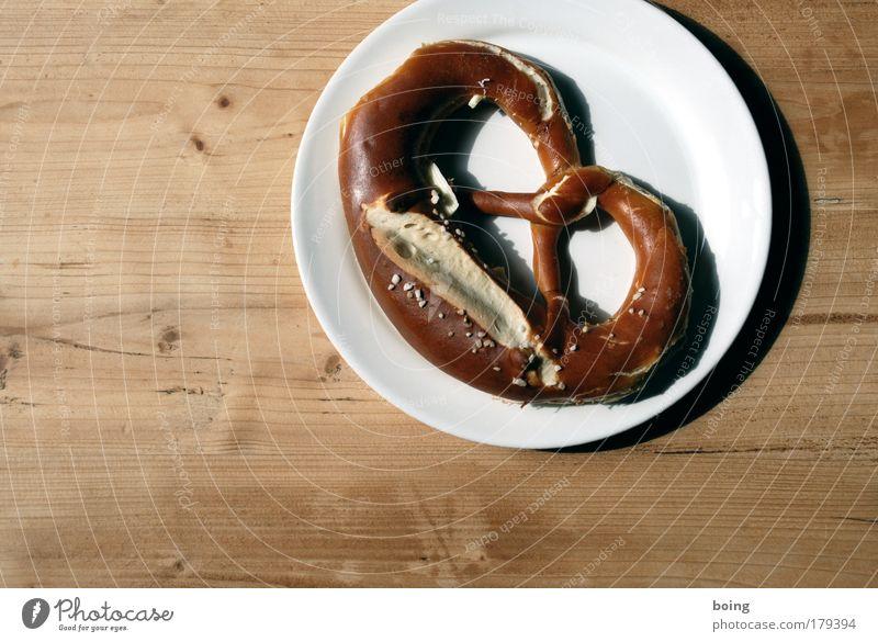 Butterbrezel Lebensmittel Teller Pause Backwaren Teigwaren Bäckerei Brezel Kaffeepause