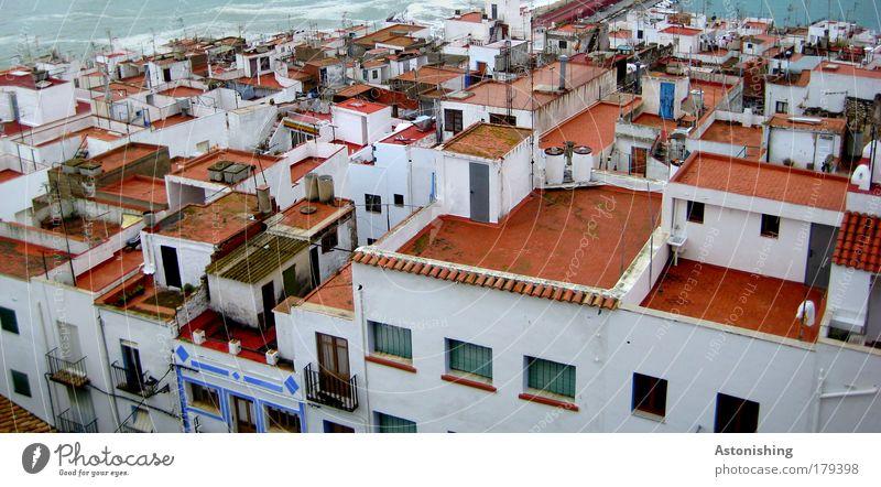 über den Dächern Wasser weiß Meer blau Stadt rot Sommer Ferien & Urlaub & Reisen Haus kalt Wand Fenster Mauer Gebäude Regen Wellen