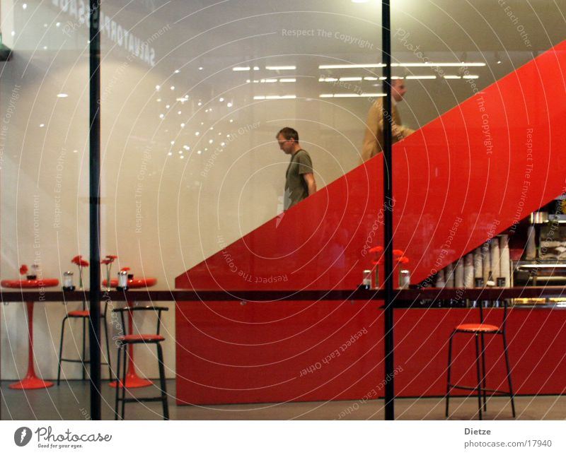 Roter Abstieg rot Architektur Treppe Bar Innenarchitektur Café Rolltreppe Hocker