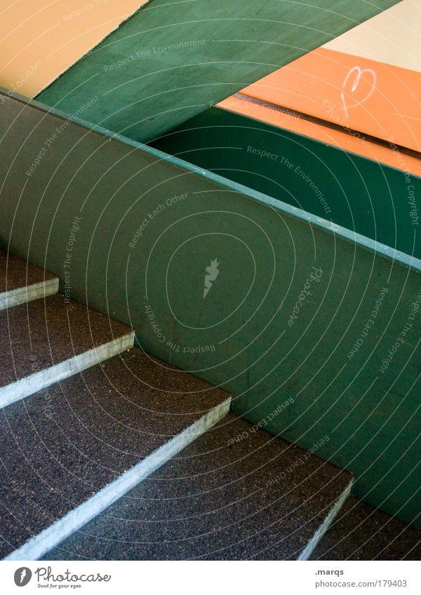 Treppe Farbfoto mehrfarbig Außenaufnahme Menschenleer Stil Design Stadt Bauwerk Mauer Wand Beton Linie Streifen eckig retro grün Farbe modern Kontrast orange