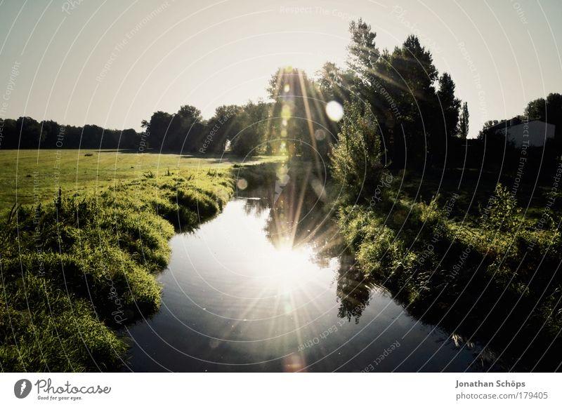 Doppelsonne Natur Wasser grün blau Sonne Wiese Gras Landschaft träumen Umwelt Beleuchtung glänzend paarweise Klima Fluss Mitte