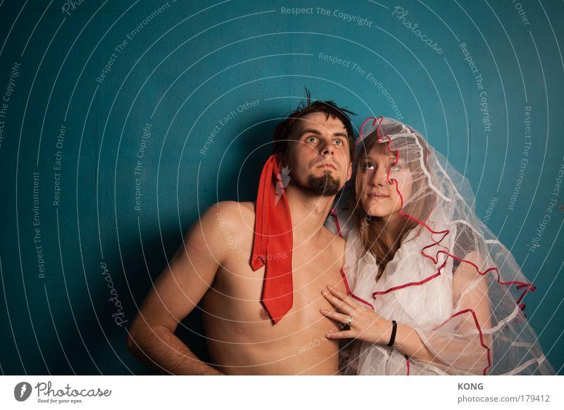 der zukunft ins auge geblickt Farbfoto Textfreiraum links Blick nach oben maskulin feminin Junge Frau Jugendliche Junger Mann Paar Partner 2 Mensch 18-30 Jahre